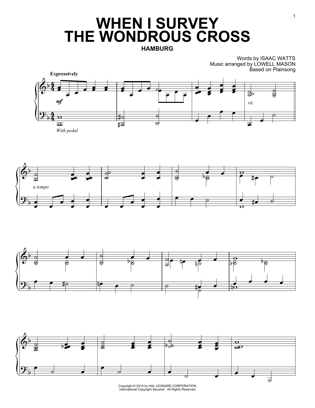 Download Isaac Watts 'When I Survey The Wondrous Cross' Digital Sheet Music Notes & Chords and start playing in minutes