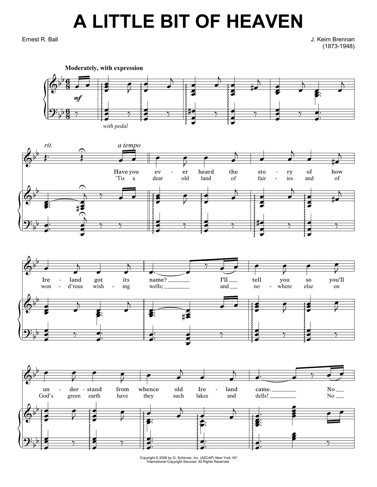 J. Keirn Brenan A Little Bit Of Heaven sheet music preview music notes and score for Piano, Vocal & Guitar (Right-Hand Melody) including 3 page(s)