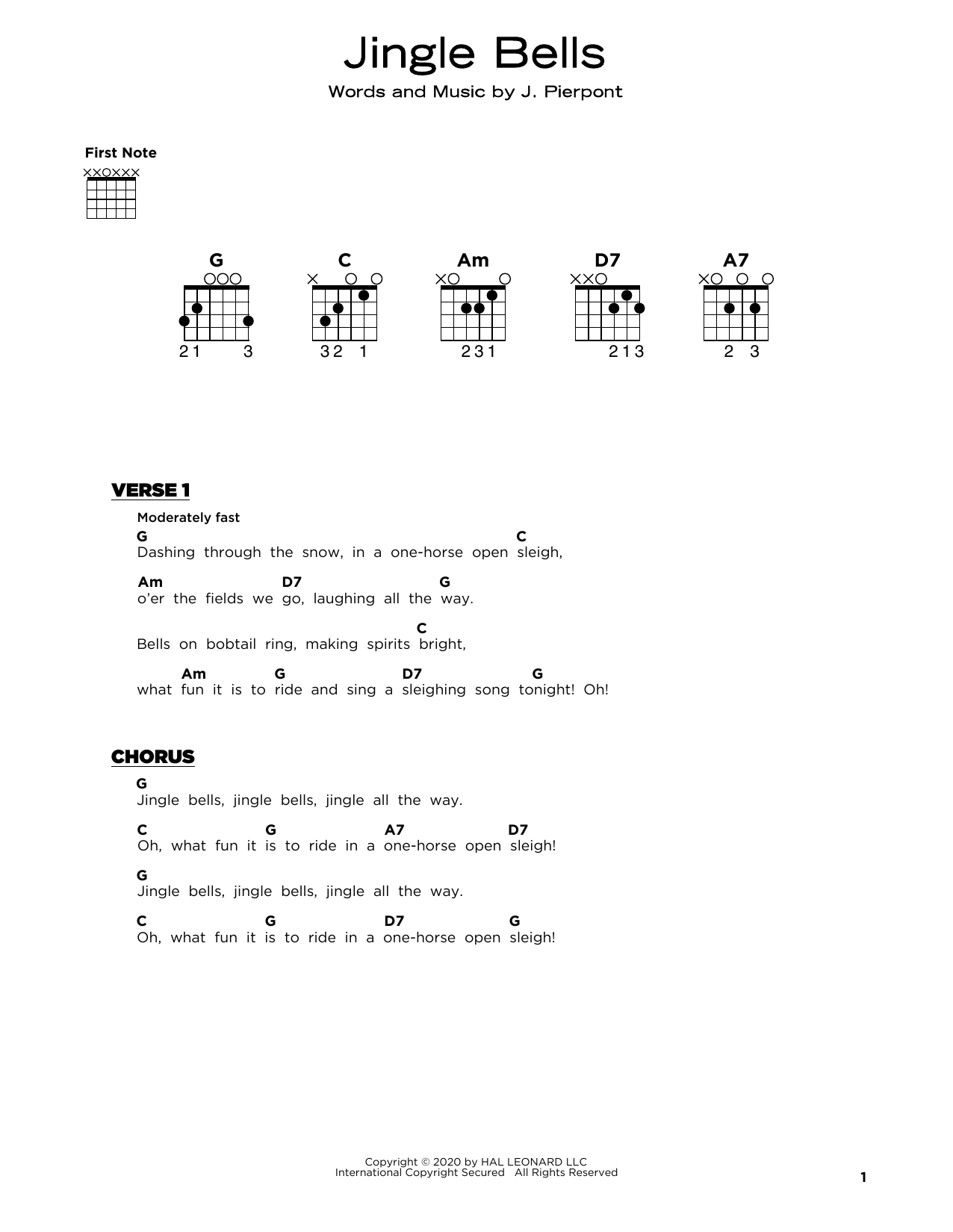 J. Pierpont Jingle Bells sheet music notes and chords