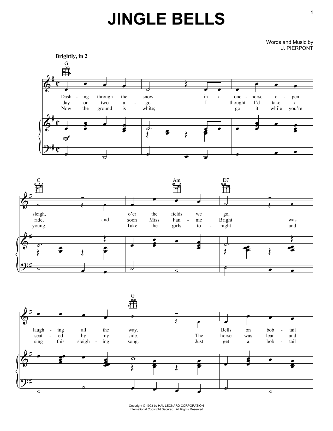 J. Pierpont Jingle Bells sheet music preview music notes and score for Ukulele including 2 page(s)