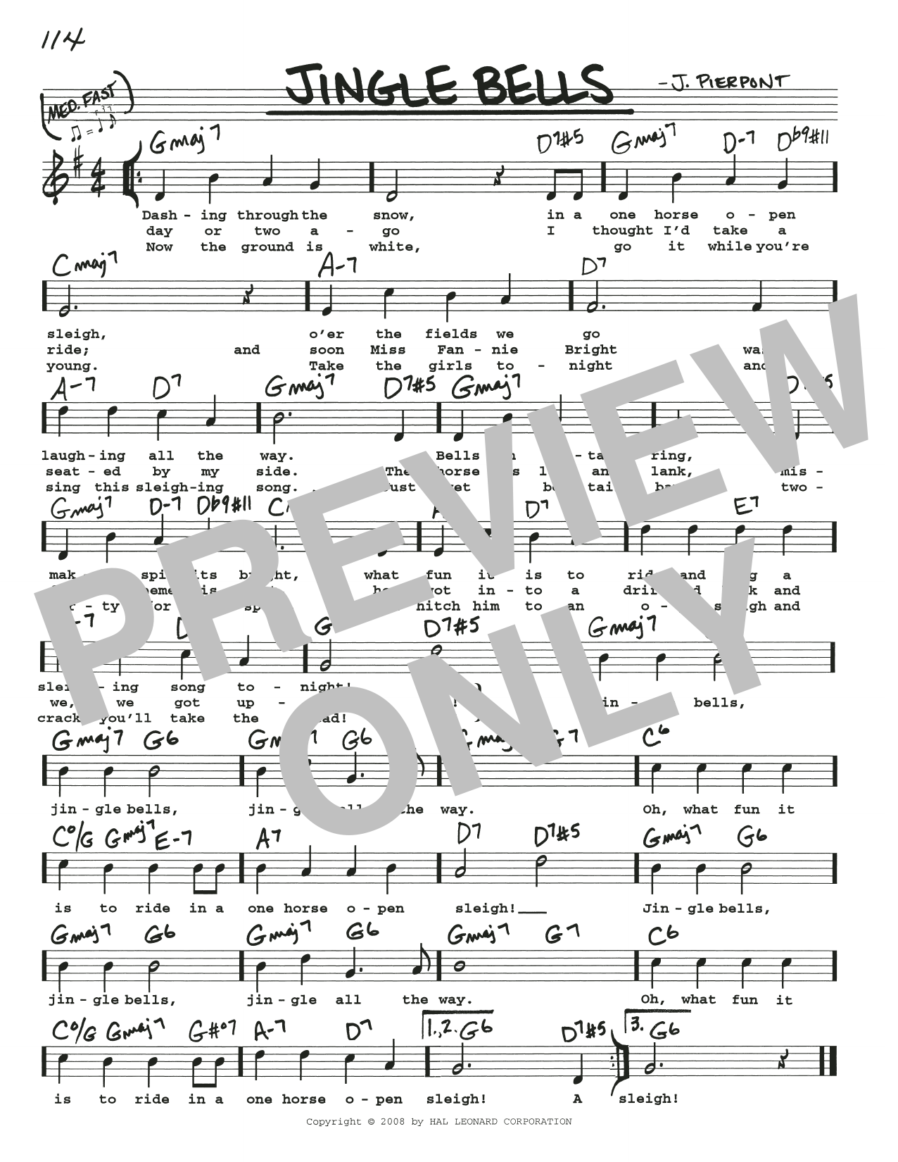 J. Pierpont Jingle Bells sheet music preview music notes and score for Piano including 2 page(s)