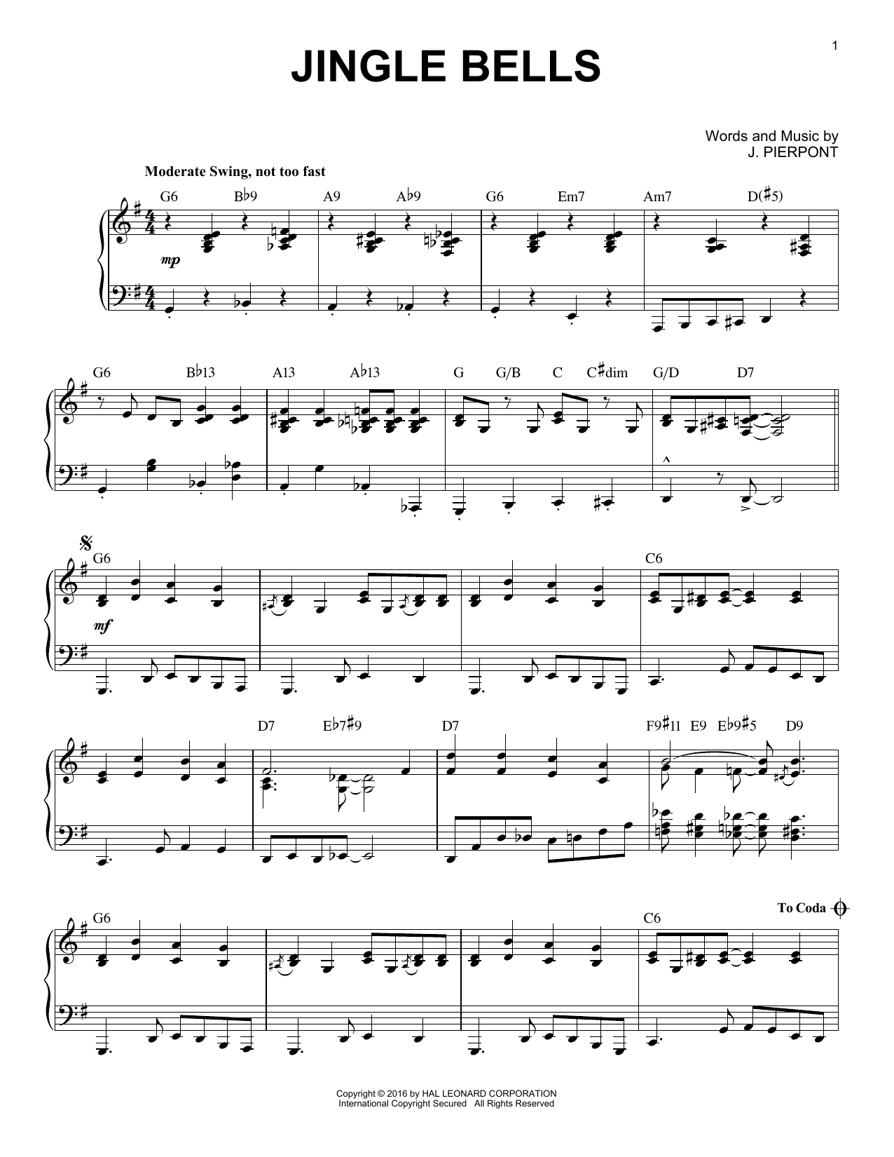 Download J. Pierpont 'Jingle Bells' Digital Sheet Music Notes & Chords and start playing in minutes