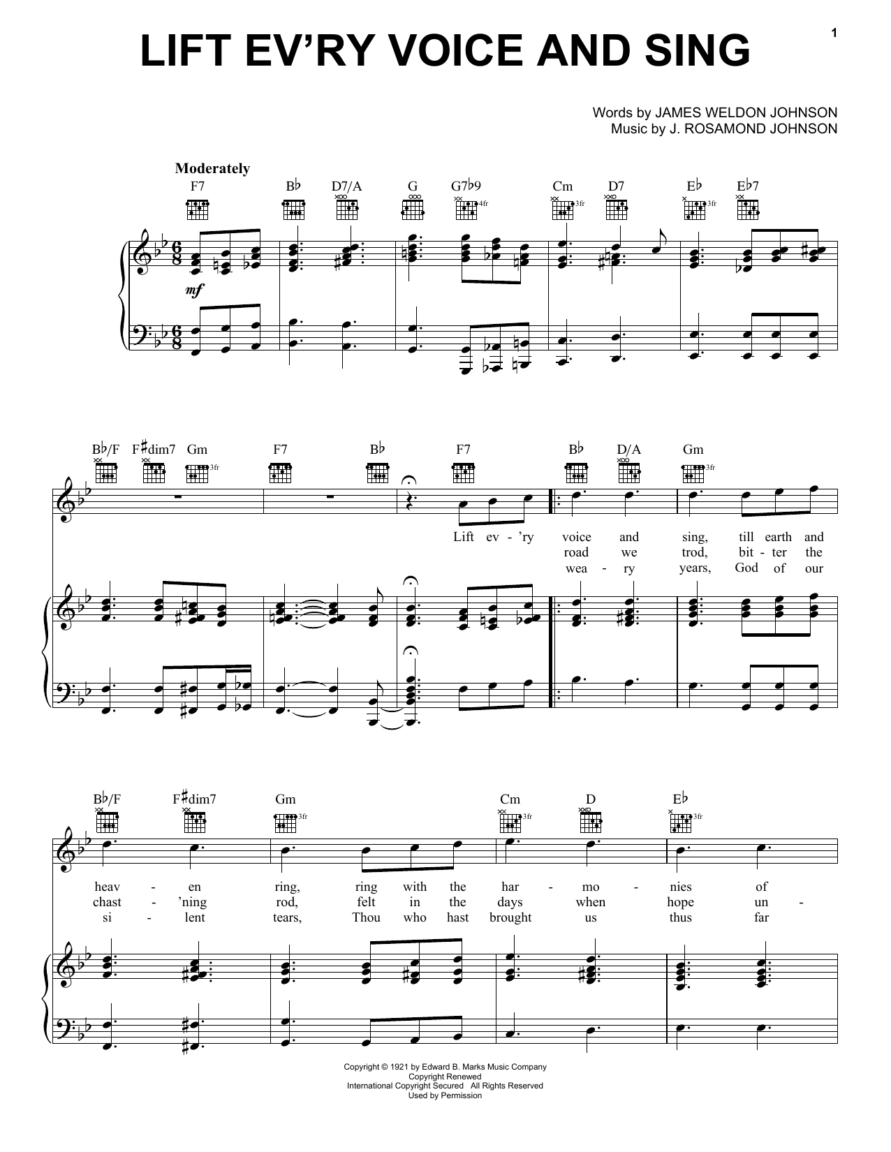 J. Rosamond Johnson Lift Ev'ry Voice And Sing sheet music preview music notes and score for Piano, Vocal & Guitar (Right-Hand Melody) including 3 page(s)