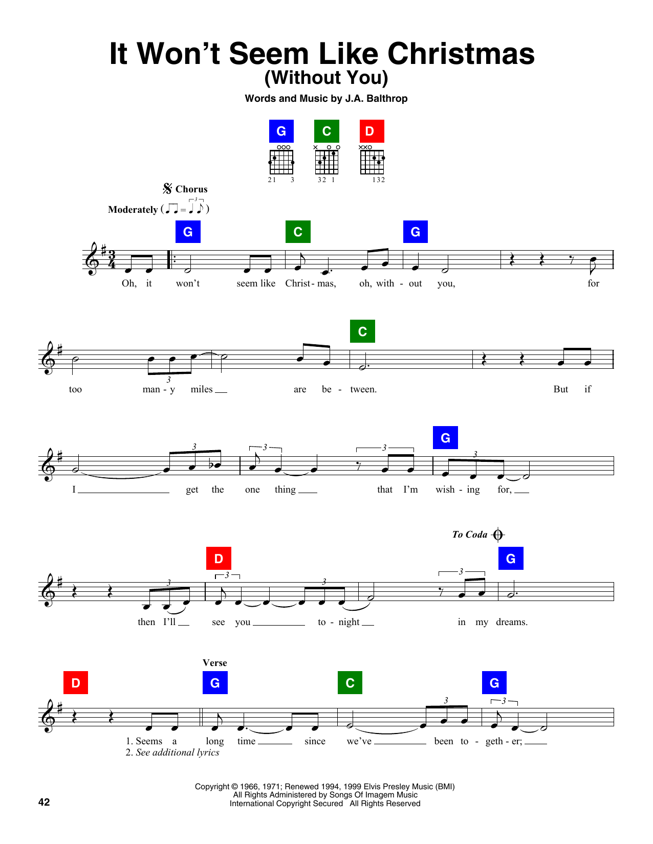 Download J.A. Balthrop 'It Won't Seem Like Christmas (Without You)' Digital Sheet Music Notes & Chords and start playing in minutes