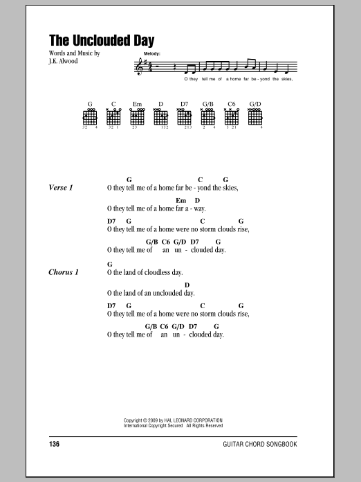 J.K. Alwood The Unclouded Day sheet music preview music notes and score for Super Easy Piano including 2 page(s)