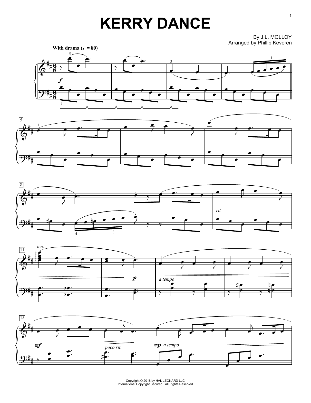 Download J.L. Molloy 'Kerry Dance (arr. Phillip Keveren)' Digital Sheet Music Notes & Chords and start playing in minutes