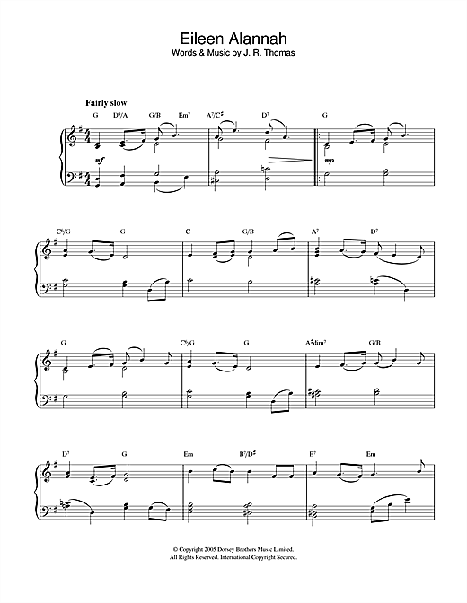 Download J.R. Thomas 'Eileen Alannah' Digital Sheet Music Notes & Chords and start playing in minutes