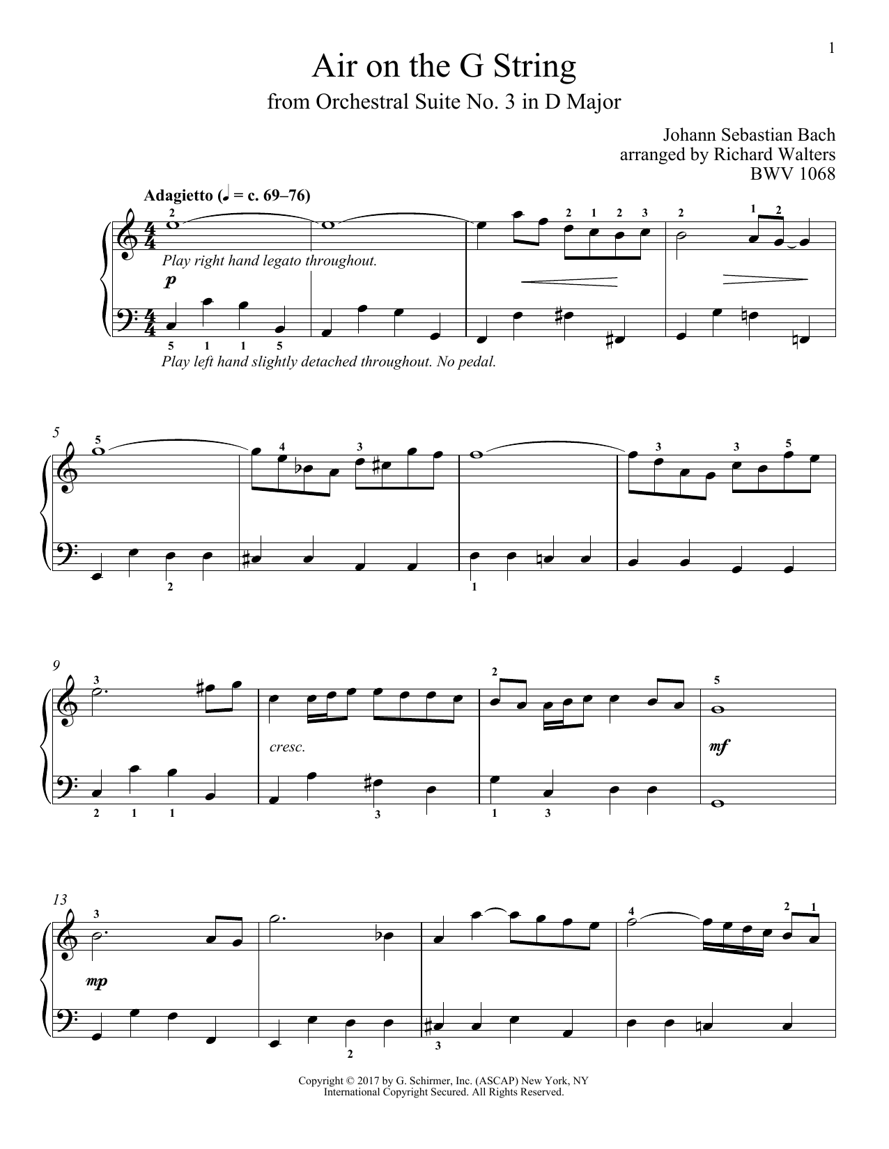 Download Johann Sebastian Bach 'Air (Air On The G String)' Digital Sheet Music Notes & Chords and start playing in minutes