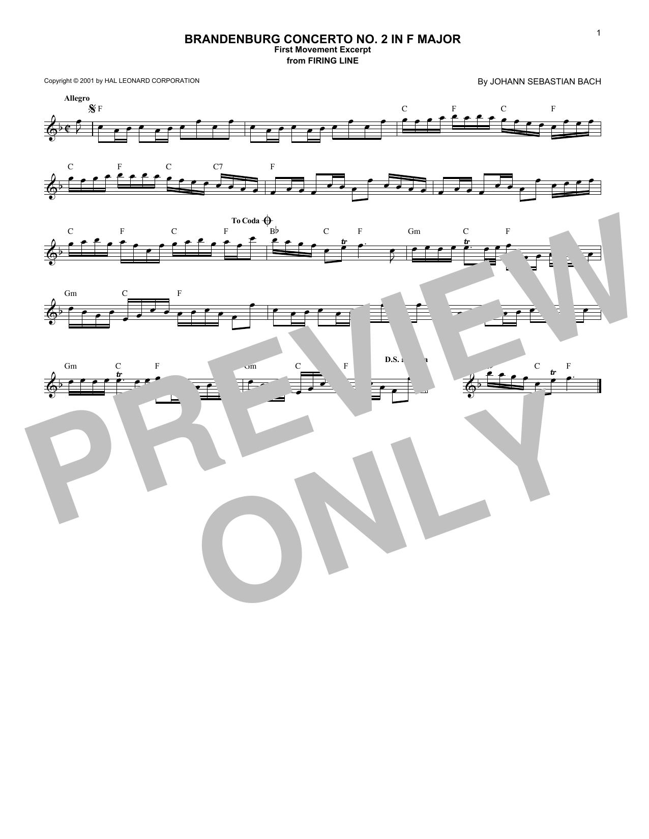 Download Johann Sebastian Bach 'Brandenburg Concerto No. 2 in F Major, First Movement Excerpt' Digital Sheet Music Notes & Chords and start playing in minutes