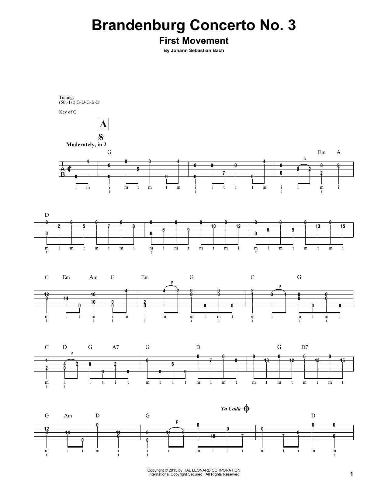 Download Johann Sebastian Bach 'Brandenburg Concerto No. 3' Digital Sheet Music Notes & Chords and start playing in minutes