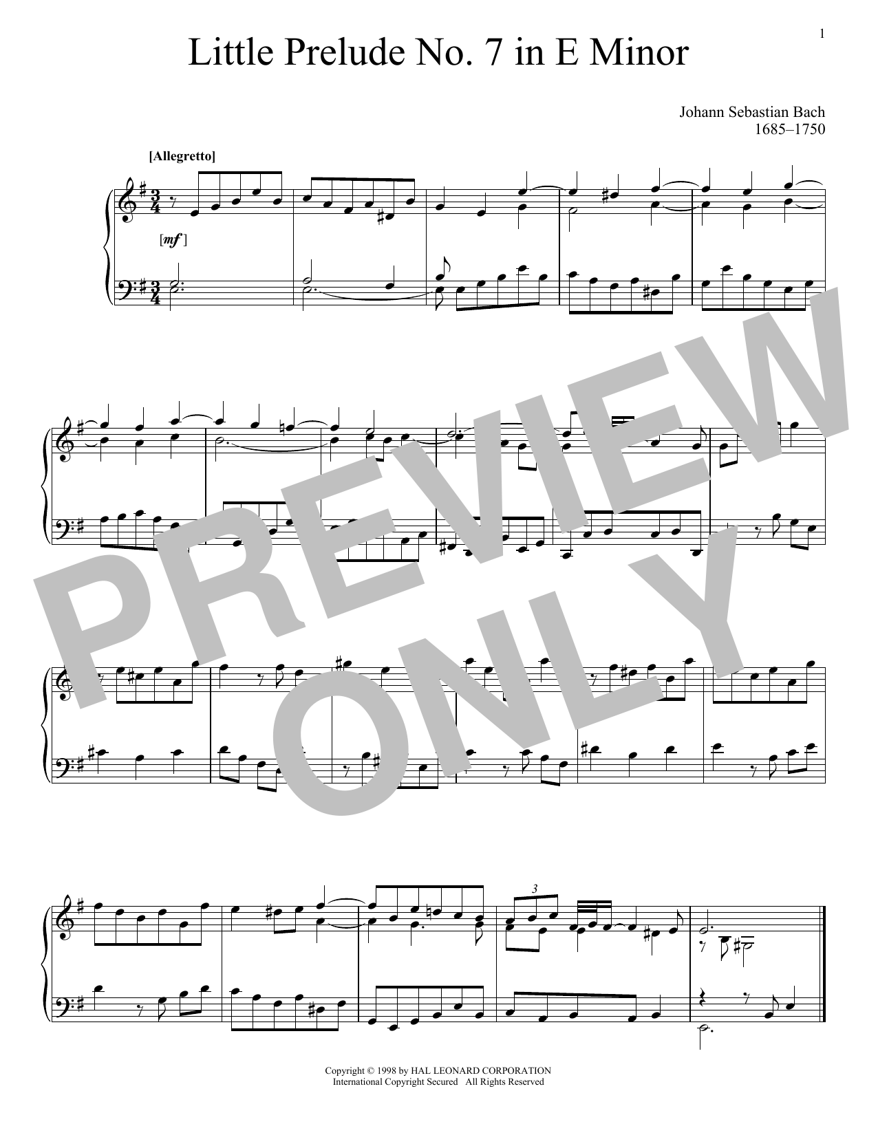 Download Johann Sebastian Bach 'Little Prelude No. 7 in E Minor' Digital Sheet Music Notes & Chords and start playing in minutes