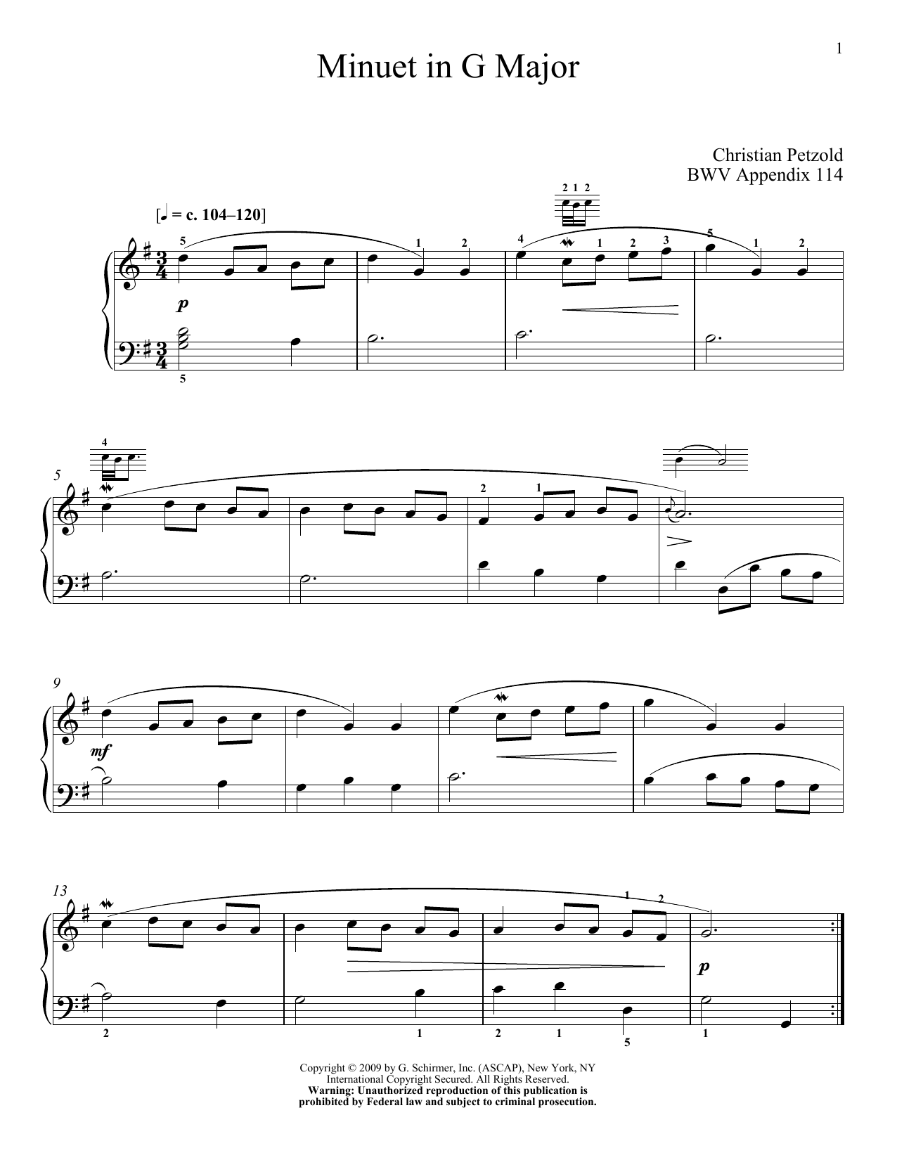 Download J.S. Bach 'Menuet In G Major, BWV App. 114' Digital Sheet Music Notes & Chords and start playing in minutes
