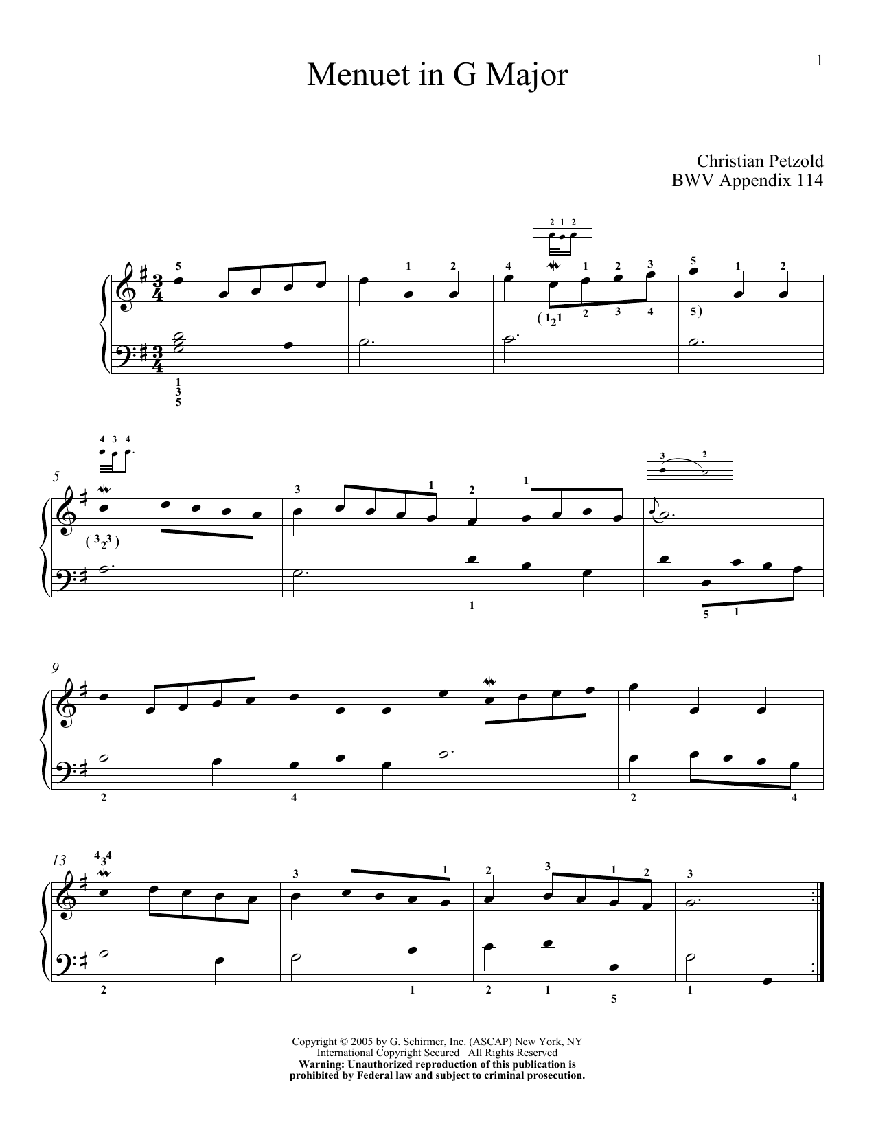 Download J.S. Bach 'Minuet In G' Digital Sheet Music Notes & Chords and start playing in minutes