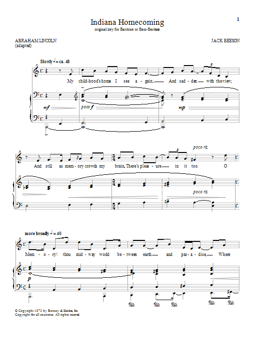 Download Jack Beeson 'Indiana Homecoming' Digital Sheet Music Notes & Chords and start playing in minutes