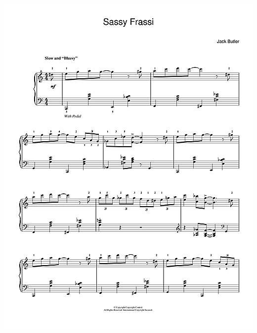Download Jack Butler 'Sassy Frassi (in 'blues' style)' Digital Sheet Music Notes & Chords and start playing in minutes