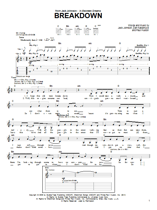 Jack Johnson Breakdown sheet music preview music notes and score for Piano, Vocal & Guitar (Right-Hand Melody) including 6 page(s)