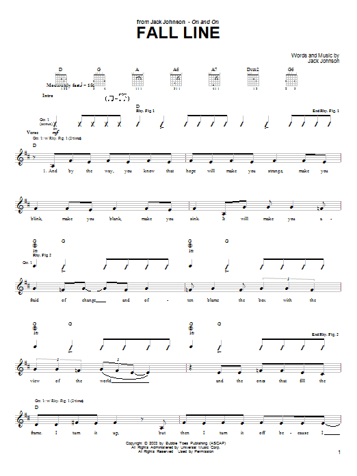 Jack Johnson Fall Line sheet music preview music notes and score for Guitar Tab including 3 page(s)