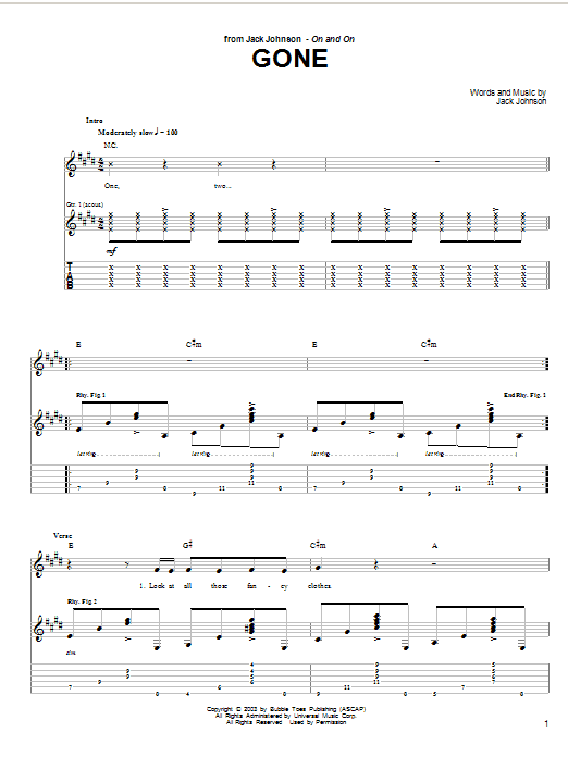 Jack Johnson Gone sheet music preview music notes and score for Guitar Tab including 4 page(s)