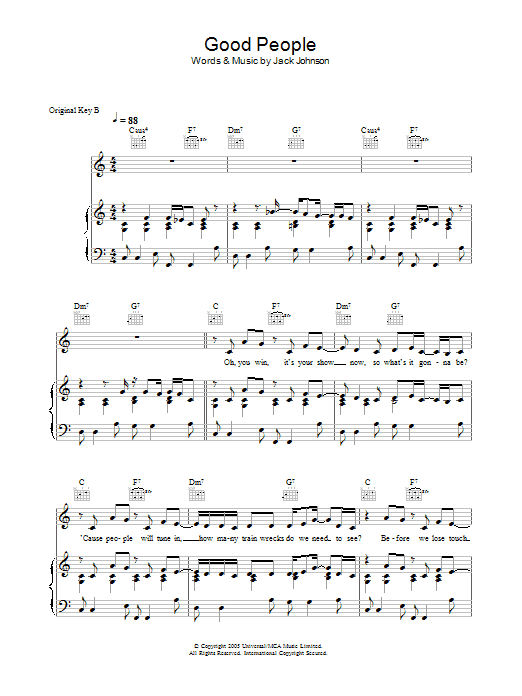 Jack Johnson Good People sheet music preview music notes and score for Piano, Vocal & Guitar (Right-Hand Melody) including 7 page(s)
