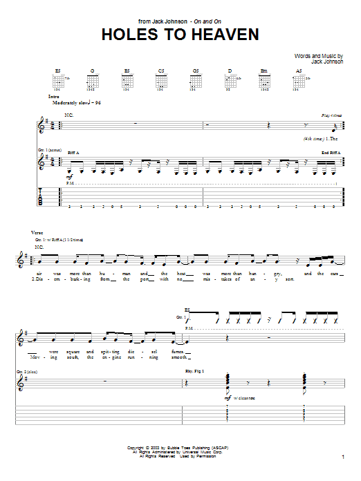 Jack Johnson Holes To Heaven sheet music preview music notes and score for Guitar Tab including 5 page(s)