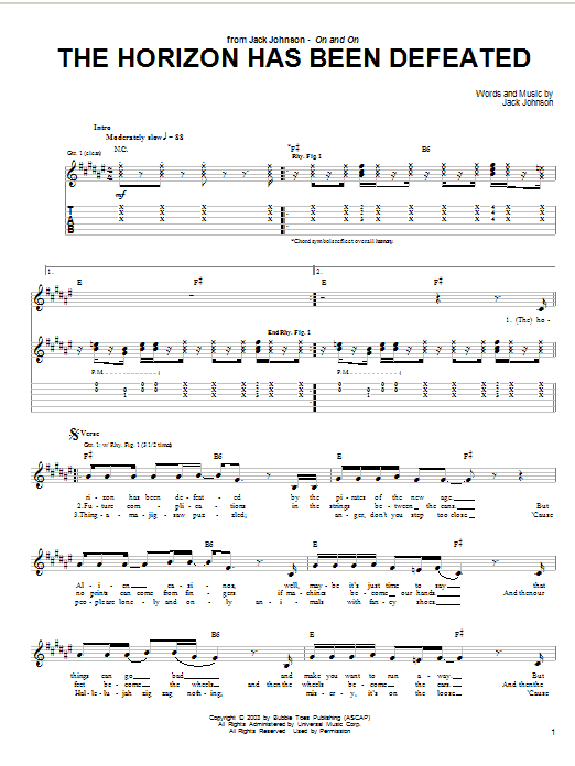 Jack Johnson The Horizon Has Been Defeated sheet music preview music notes and score for Guitar Tab including 3 page(s)