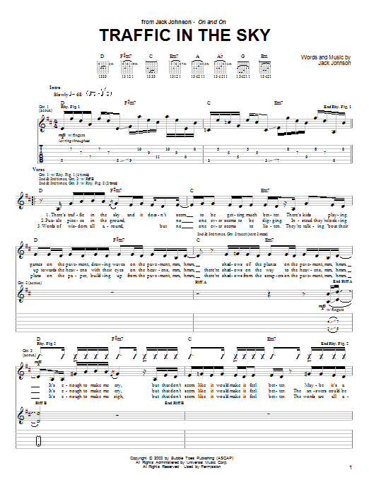 Jack Johnson Traffic In The Sky sheet music preview music notes and score for Guitar Tab including 2 page(s)