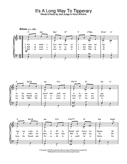 Download Jack Judge 'It's A Long Way To Tipperary' Digital Sheet Music Notes & Chords and start playing in minutes