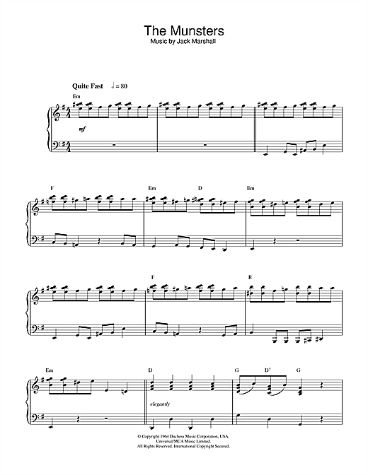 Jack Marshall The Munsters sheet music notes and chords