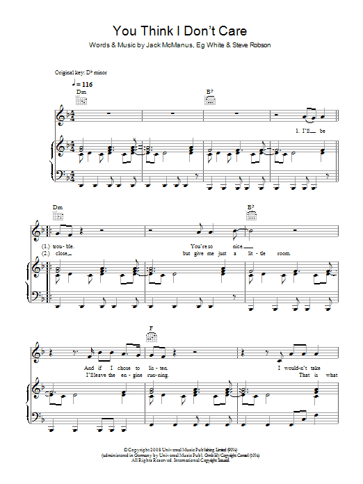 Jack McManus You Think I Don't Care sheet music preview music notes and score for Piano, Vocal & Guitar including 5 page(s)