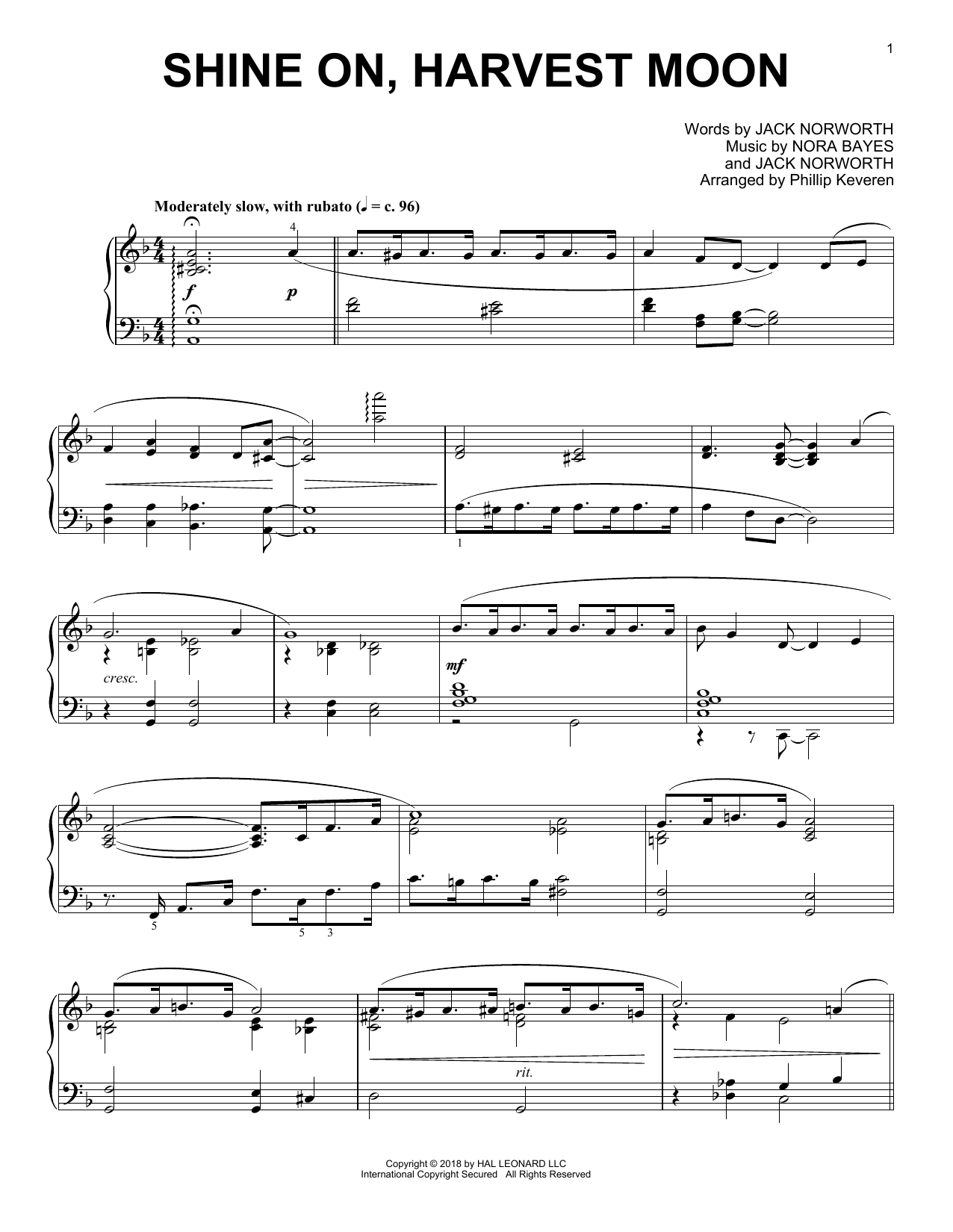 Download Jack Norworth 'Shine On, Harvest Moon (arr. Phillip Keveren)' Digital Sheet Music Notes & Chords and start playing in minutes