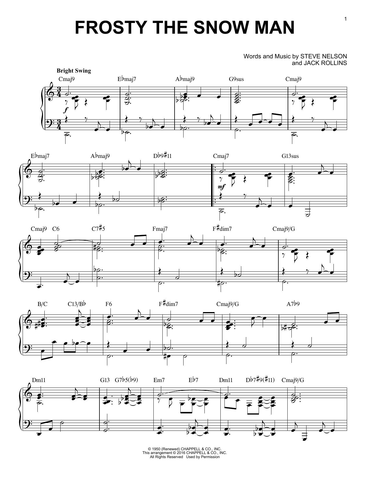 Download Jack Rollins 'Frosty The Snow Man' Digital Sheet Music Notes & Chords and start playing in minutes