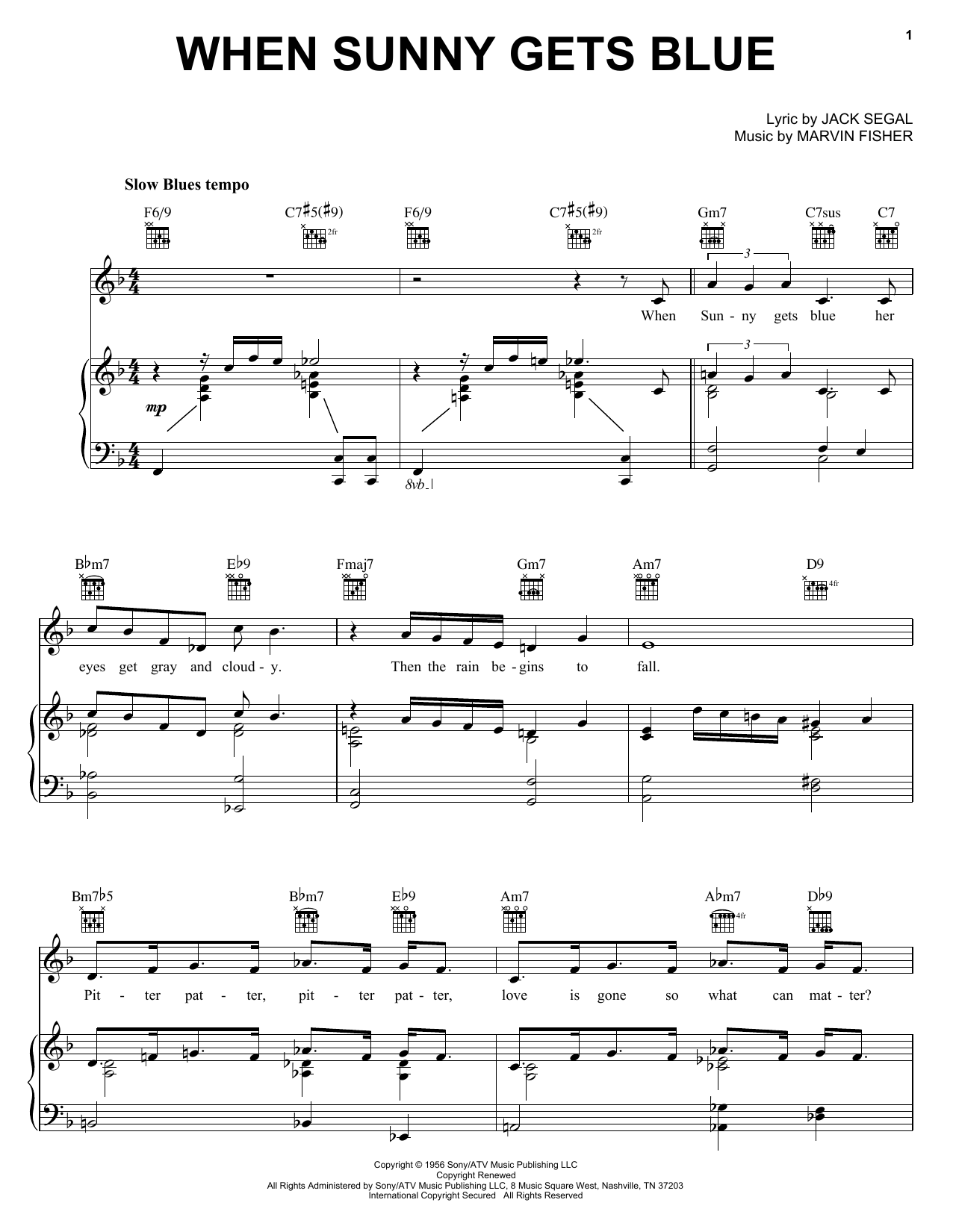 Jack Segal When Sunny Gets Blue sheet music preview music notes and score for Guitar Tab including 2 page(s)