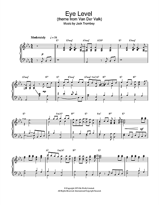 Download Jack Trombey 'Eye Level (theme from Van Der Valk)' Digital Sheet Music Notes & Chords and start playing in minutes