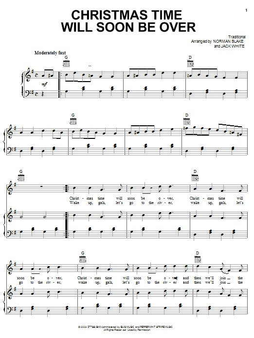Jack White Christmas Time Will Soon Be Over sheet music preview music notes and score for Piano, Vocal & Guitar (Right-Hand Melody) including 3 page(s)
