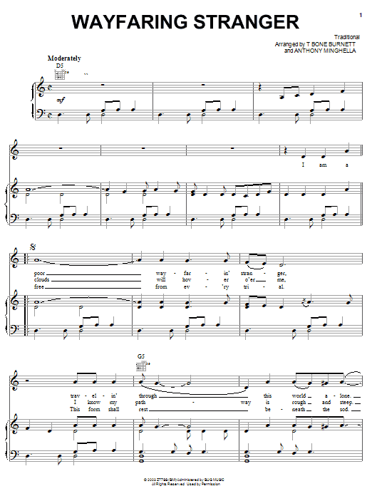 Jack White Wayfaring Stranger sheet music preview music notes and score for Piano, Vocal & Guitar (Right-Hand Melody) including 4 page(s)