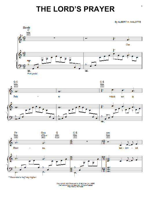 Jackie Evancho The Lord's Prayer sheet music preview music notes and score for Piano, Vocal & Guitar (Right-Hand Melody) including 6 page(s)