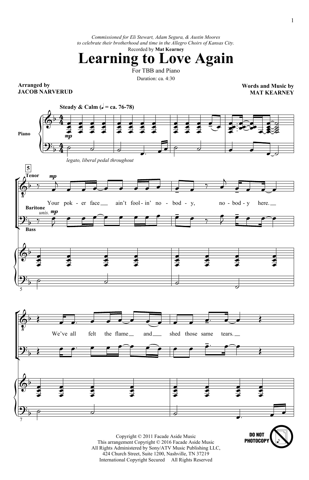 Download Jacob Narverud 'Learning To Love Again' Digital Sheet Music Notes & Chords and start playing in minutes