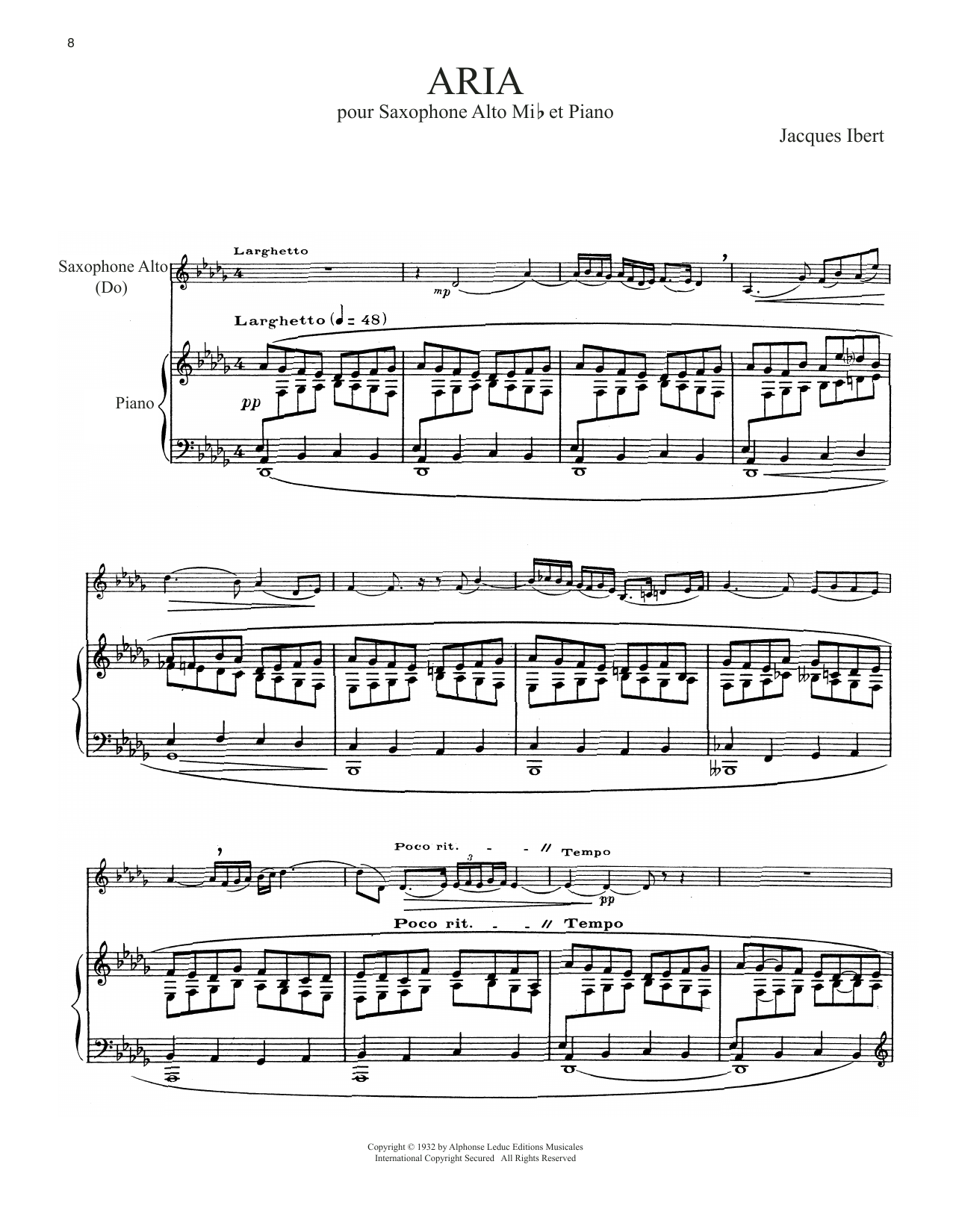 Download Jacques Ibert 'Aria' Digital Sheet Music Notes & Chords and start playing in minutes