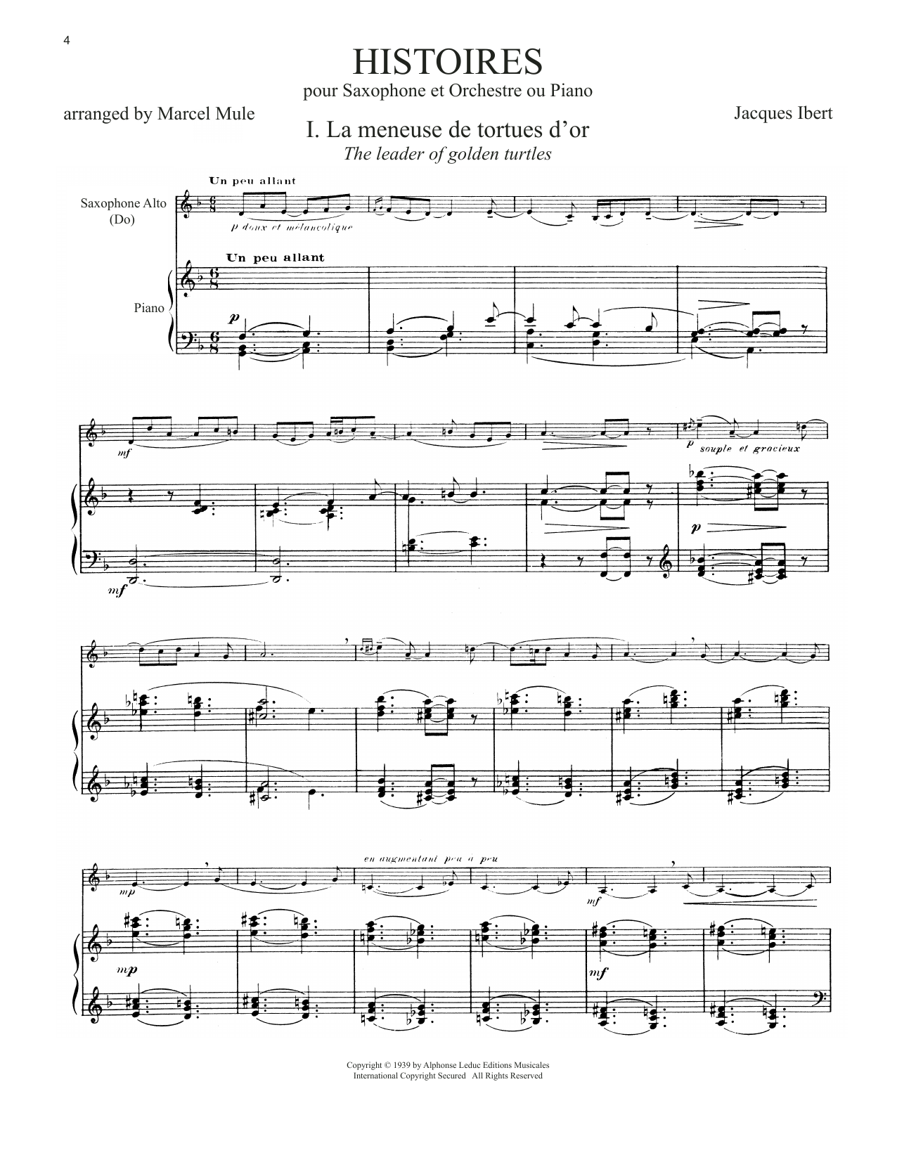 Download Jacques Ibert 'Histoires (arr. Marcel Mule)' Digital Sheet Music Notes & Chords and start playing in minutes