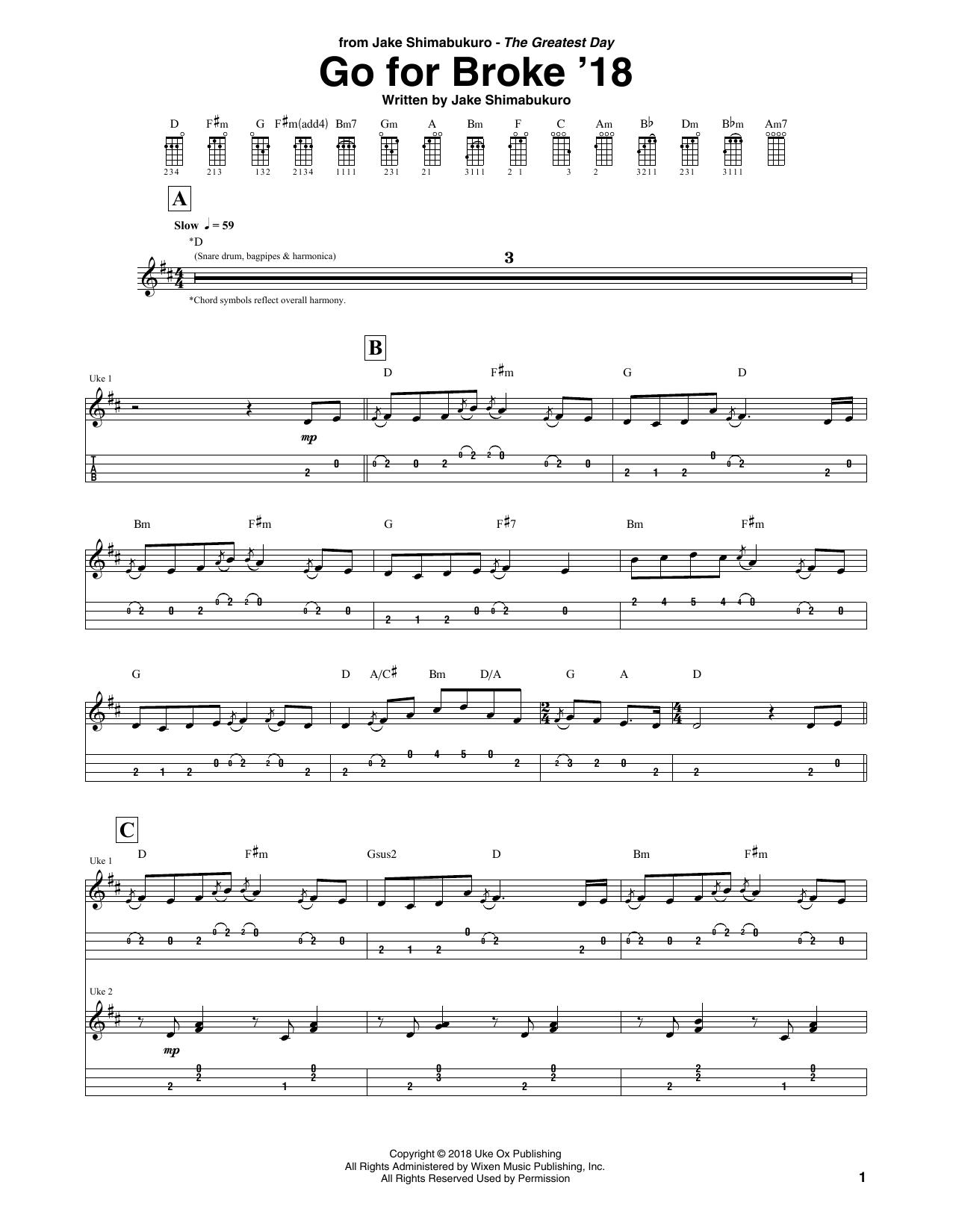 Download Jake Shimabukuro 'Go For Broke' Digital Sheet Music Notes & Chords and start playing in minutes