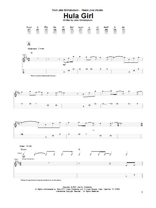 Jake Shimabukuro Hula Girl sheet music preview music notes and score for Ukulele including 8 page(s)