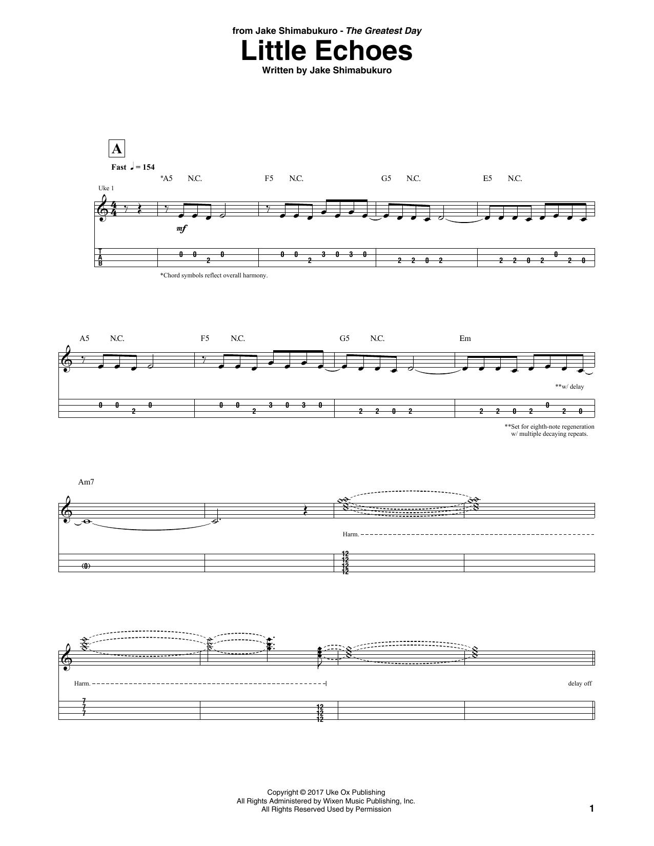 Download Jake Shimabukuro 'Little Echoes' Digital Sheet Music Notes & Chords and start playing in minutes