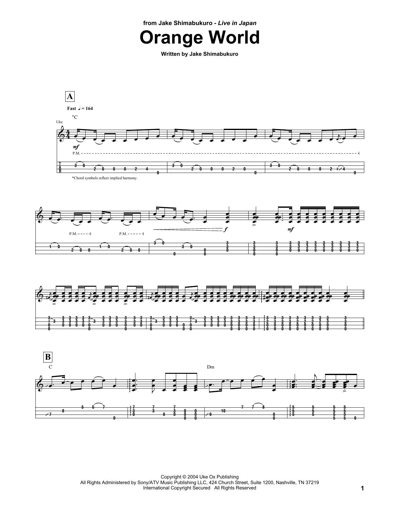 Download Jake Shimabukuro 'Orange World' Digital Sheet Music Notes & Chords and start playing in minutes