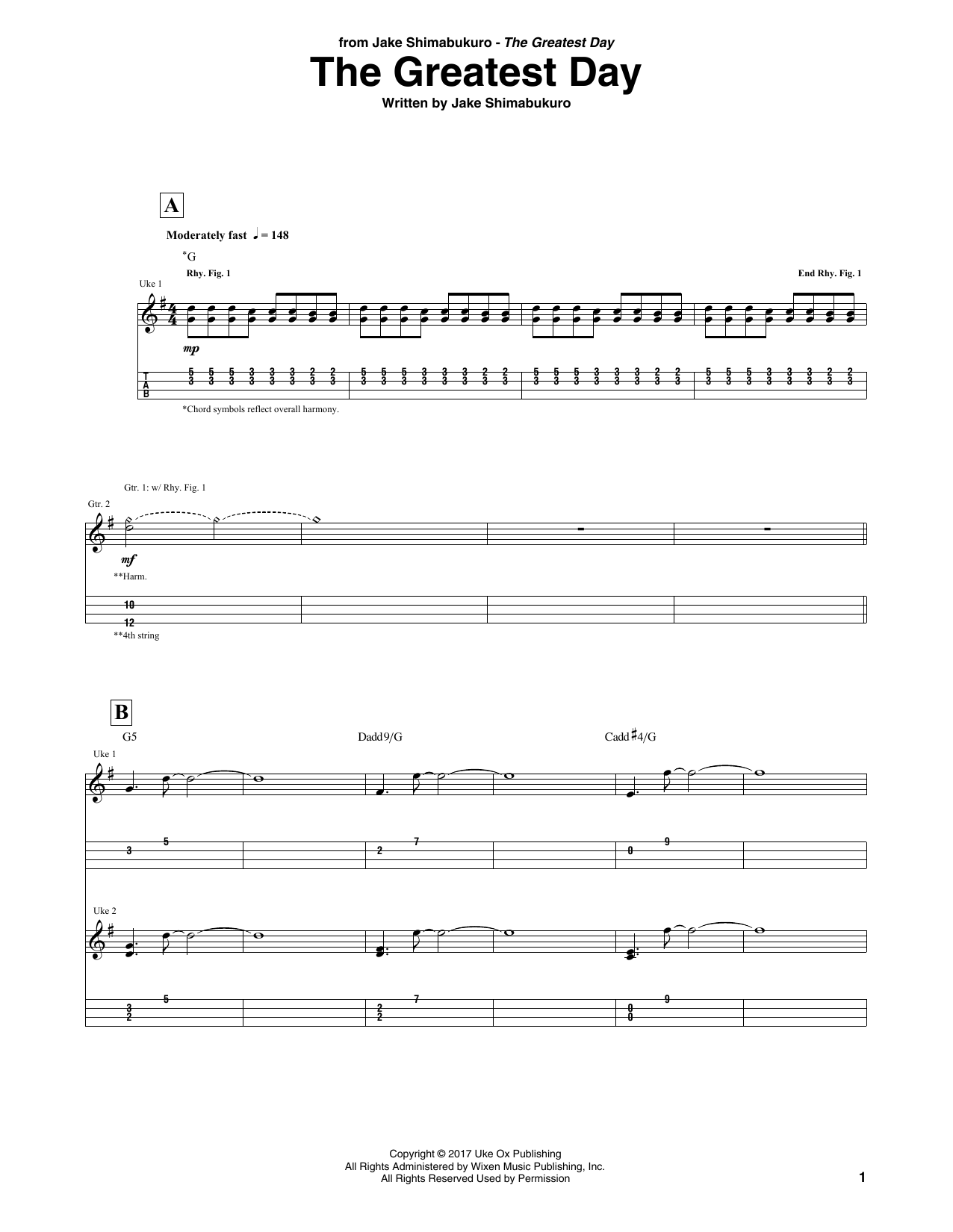 Download Jake Shimabukuro 'The Greatest Day' Digital Sheet Music Notes & Chords and start playing in minutes