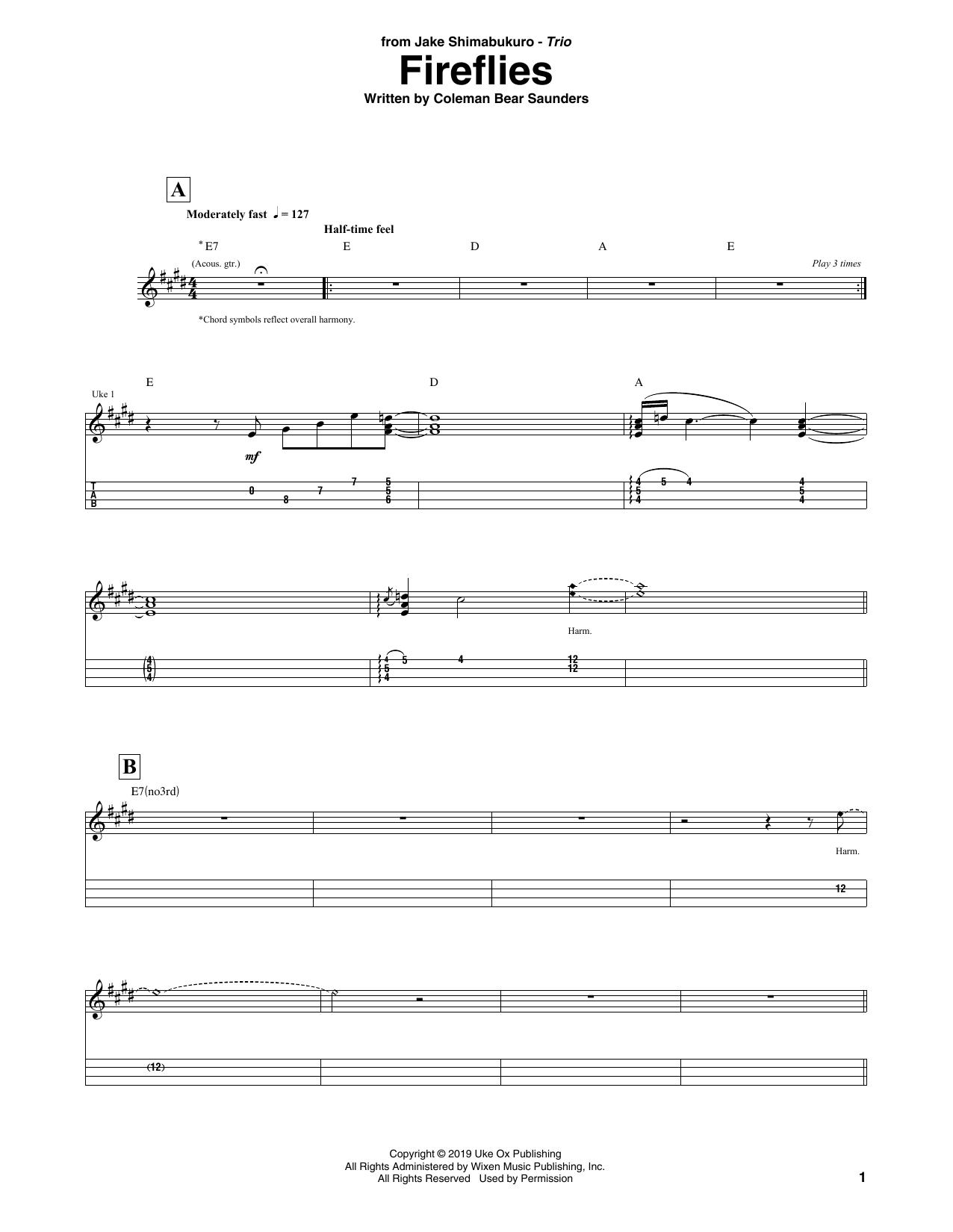 Download Jake Shimabukuro Trio 'Fireflies' Digital Sheet Music Notes & Chords and start playing in minutes