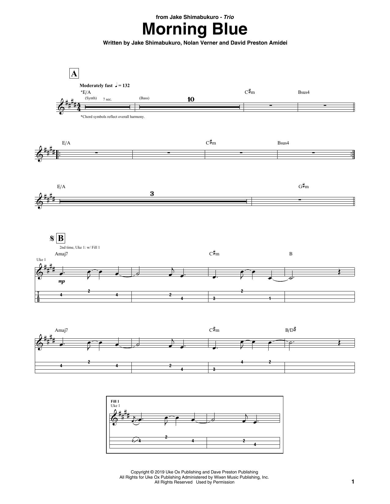 Download Jake Shimabukuro Trio 'Morning Blue' Digital Sheet Music Notes & Chords and start playing in minutes