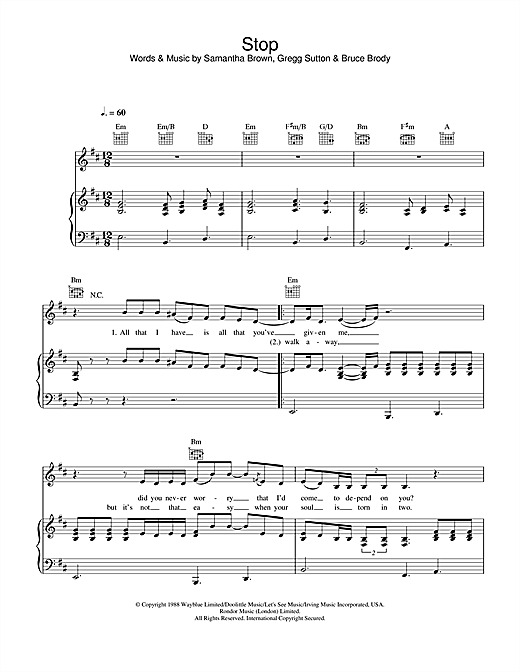 Jamelia Stop sheet music notes and chords