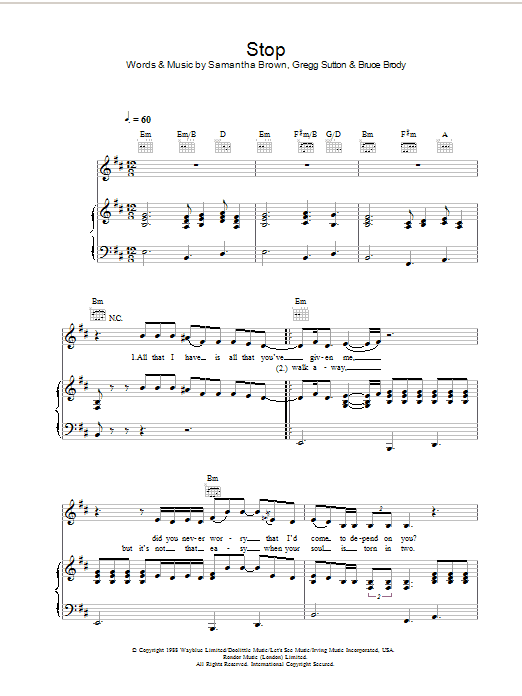 Jamelia Stop sheet music preview music notes and score for Piano, Vocal & Guitar (Right-Hand Melody) including 4 page(s)
