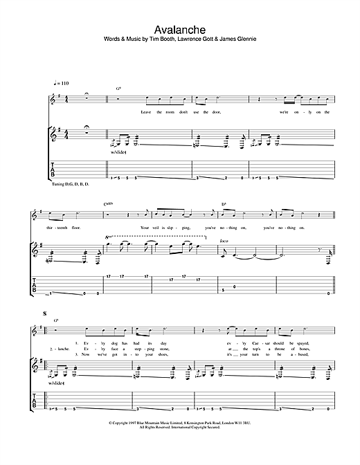 James Avalanche sheet music notes and chords