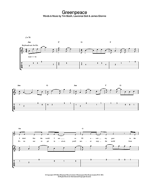 James Greenpeace sheet music notes and chords